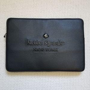 Kate Spade black leather laptop case NWT !